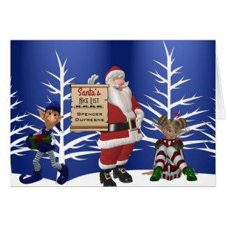 """Tillfoga barnets kända """"Santas Nice listar"""" Hälsningskort"""