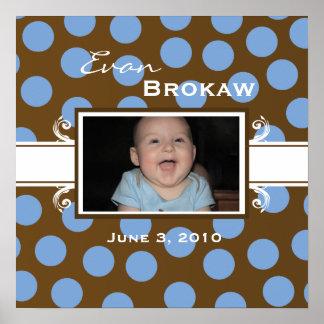 Tillfoga din affisch för babybrunt- och blåttpolka
