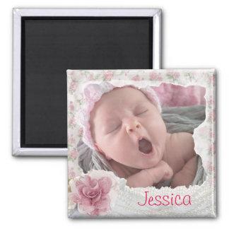 Tillfoga din bebis foto, nätt rosa Lacy magnet
