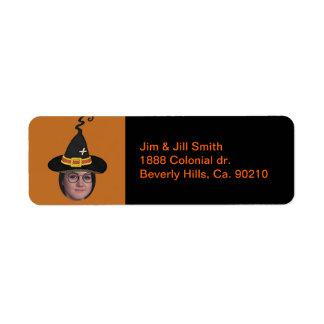 Tillfoga ditt foto till trollkarlar hatt & returadress etikett