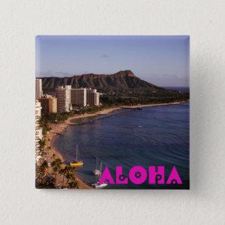 Tillfoga ett hawaianskt semesterfoto standard kanpp fyrkantig 5.1 cm
