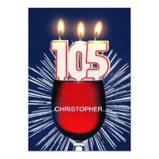 Tillfoga ett namn, den 105. födelsedagsfest 12,7 x 17,8 cm inbjudningskort