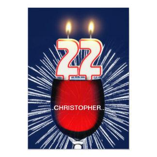 Tillfoga ett namn, den 22nd födelsedagsfest 12,7 x 17,8 cm inbjudningskort