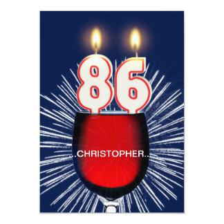 Tillfoga ett namn, den 86th födelsedagsfest 12,7 x 17,8 cm inbjudningskort