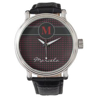 tillfoga initialt/polkadots armbandsur