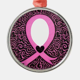 Tillfogar den rosa bandramen för bröstcancer julgransprydnad metall