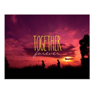 Tillsammans kopplar ihop för evigt på vykort