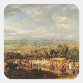 Tillträde av Louis XIV av Österrike i Arras Fyrkantigt Klistermärke