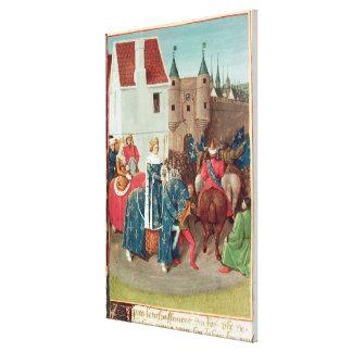 Tillträde in i Paris av kungen Jean II Le Bon Canvastryck