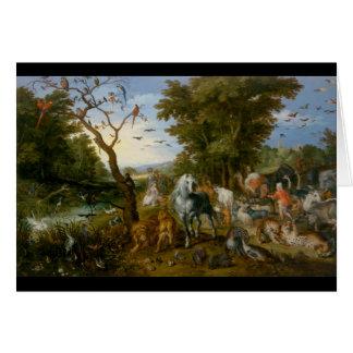 Tillträdeet av djuren in i Noahs ark 1613 Hälsningskort