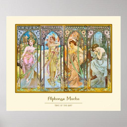 Time av dagen, Alphonse Mucha Affisch