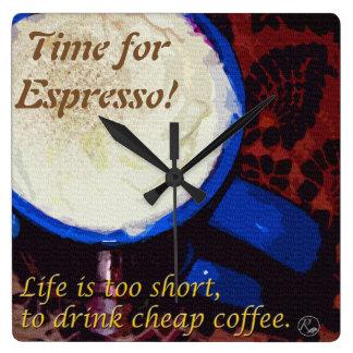 Time för espresso! fyrkantig klocka