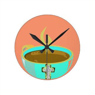 Time för kaffevägg tar tid på (inget numrerar), medium rund klocka