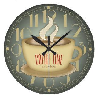 Time för roligt Retro kaffe beställnings- färg Stor Klocka