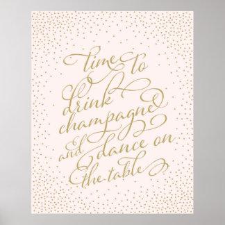 Time som dricker champagne och dans på bord poster