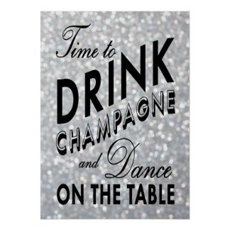 Time som dricker champagnesilveraffischen poster