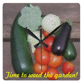 Time till ogräset som trädgården tar tid på vägg klocka