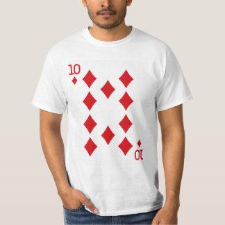 Tio av diamanter som leker kortet t-shirts