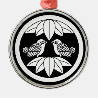 Tio bambulöv & belägen mitt emot sparrows cirklar julgransprydnad metall