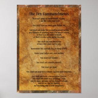 Tio Commandments på stenbakgrund Poster
