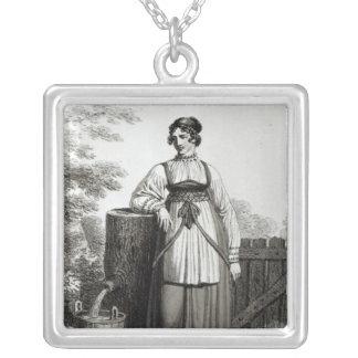 Tirollian bondaktig flicka, 1817 silverpläterat halsband