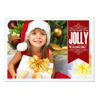 Tis säsongen som är Jolly julfotokort 12,7 X 17,8 Cm Inbjudningskort