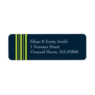 Tisbury - marin och grönt - returadress Lables Returadress Etikett