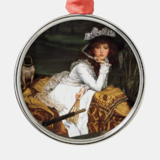Tissot ung dam och antik målning för mops julgransprydnad metall