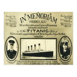 Titanic i den Memoriam vykortet Vykort