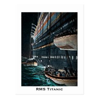 Titanic lansering för RMS av Lifeboatsvintagen Vykort