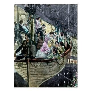 Titanic RMS görar panikslagen på däck rusar för Vykort