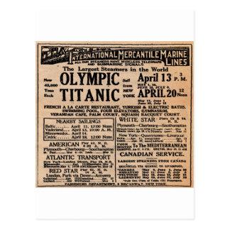Titanic tidningsannons vykort