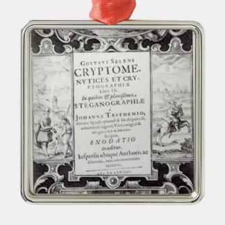 Titelsida som bokar 9 silverfärgad fyrkantigt julgransprydnad