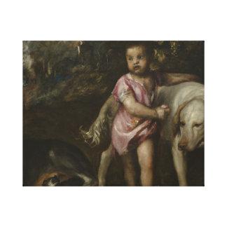 Titian - pojke med hundar i en landskap canvastryck
