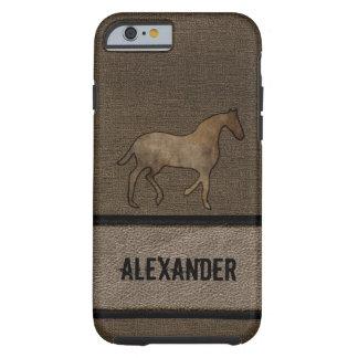 Tittar manlig brunt för hästälskare läder tough iPhone 6 case