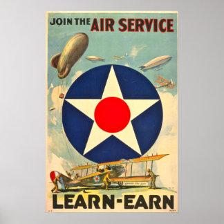 Tjänste- rekrytera affisch för luft poster