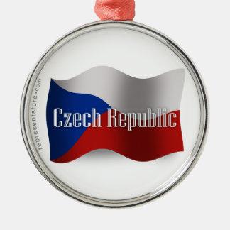 Tjeckisk republik som vinkar flagga julgransprydnad metall