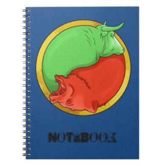 tjur och björn anteckningsbok med spiral