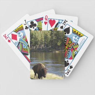 TjurBison som går den Along floden, Yellowstone Spelkort