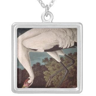 Tjuta kranen, från 'fåglar av America Silverpläterat Halsband