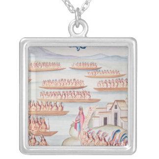 Tlatelolco och lagunen silverpläterat halsband