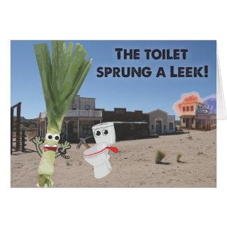 Toaletten fjädrade en Leek! Hälsningskort