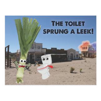 Toaletten fjädrade en Leek! Vykort