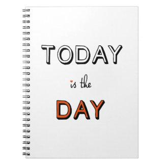 todayen är dagen, inspirera ordkonst anteckningsbok med spiral