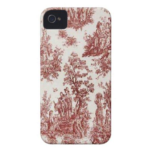 Toile för franskt land för vintage röd blackberry  iPhone 4 Case-Mate skydd
