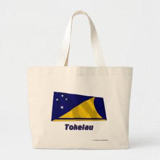 Tokelau som vinkar flagga med namn tygkasse