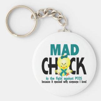 Tokig chick i slagsmål PCOS Rund Nyckelring