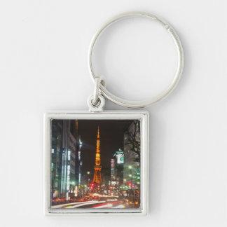 Tokyo Japan. Det Tokyo torn är kommunikationer Fyrkantig Silverfärgad Nyckelring