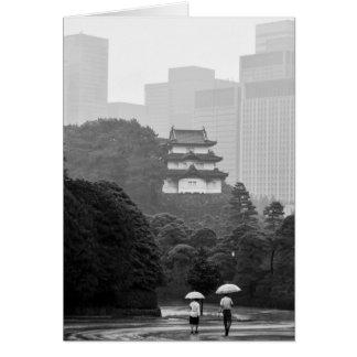 Tokyo regnar noterar korthälsningkortet hälsningskort