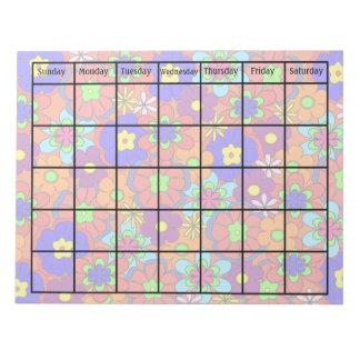 Tom kalender för Hippy Retro modblomma Anteckningsblock